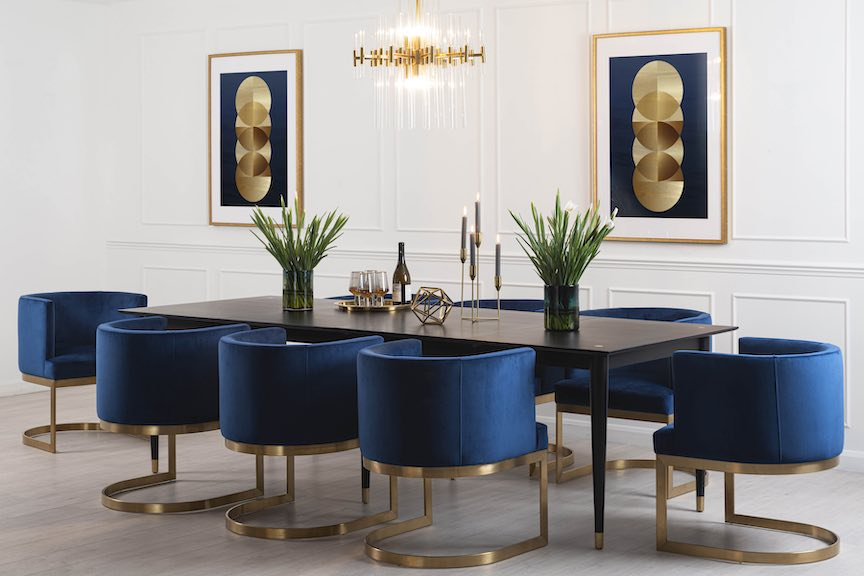 Como Black Extendable Dining Table