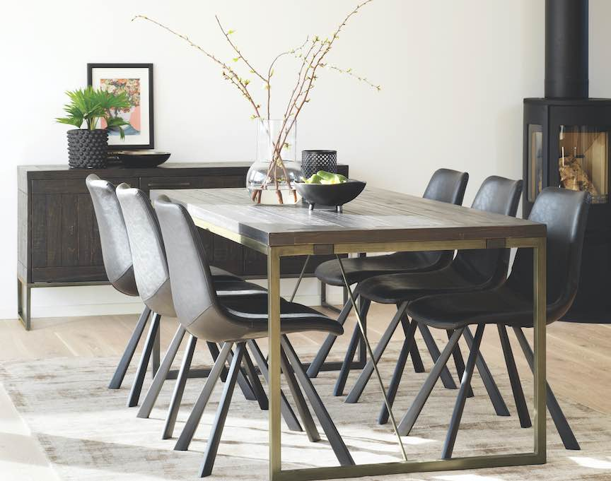 industrial style extending dining table