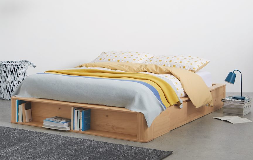 Kano Double platform bed with storage drawers