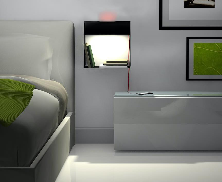 shelf that doubles up as a bedside light
