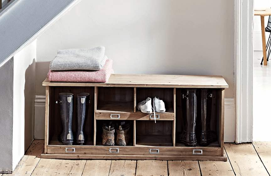 Shoe and welly storage bench